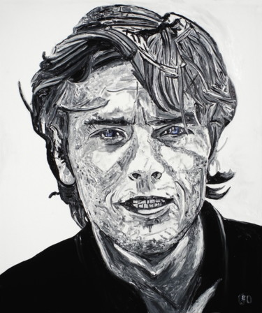 """Painting titled """"Alain Delon"""" by Jerome Labrunerie (GEO), Original Art, Oil Mounted on Stretcher frame"""