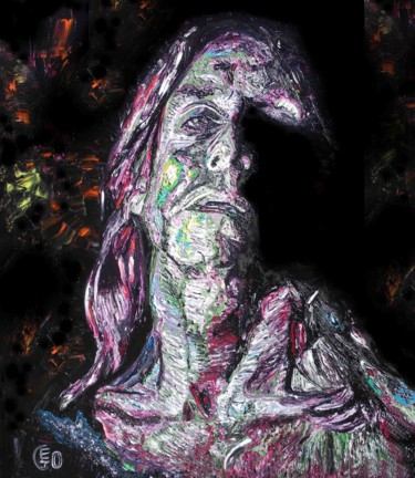 """Painting titled """"Iggy Pop"""" by Jerome Labrunerie (GEO), Original Art, Oil Mounted on Stretcher frame"""