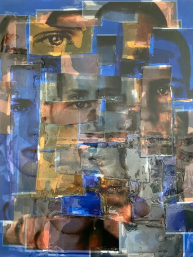 """Collages titled """"Cubist Augusta Oran…"""" by Jerome Cholet, Original Art, Spray paint"""