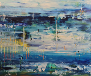 """Painting titled """"BLUE MORNINGS"""" by Jean-Humbert Savoldelli, Original Art, Acrylic Mounted on Stretcher frame"""