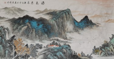 Mountainscape Painting, pigments, oriental art, artwork by Lianxiang Jiang 姜连祥