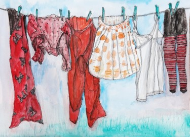 Everyday Life Painting, watercolor, figurative, artwork by Jill Carrott