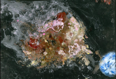 """Painting titled """"Asteroid (full titl…"""" by Jim Fischer, Original Art, Oil Mounted on Cardboard"""