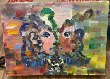 """Painting titled """"just be yourself"""" by Jingmiao Xiao, Original Art, Oil Mounted on Wood Panel"""