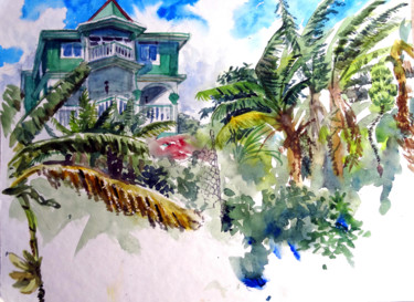 """Painting titled """"Dominican Mantion"""" by Jo Ross, Original Art, Watercolor"""