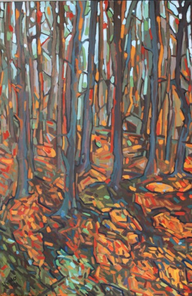 Forest Painting, acrylic, expressionism, artwork by Joanna Plenzler