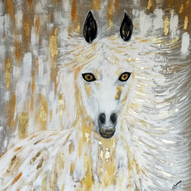 """Painting titled """"Cheval d'or"""" by Joëlle Darmon, Original Art, Acrylic"""
