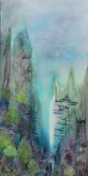 """Painting titled """"Waterfall"""" by Joëlle Rhode, Original Art, Oil Mounted on Stretcher frame"""