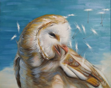 """Painting titled """"Owl"""" by Anna Shabalova, Original Art, Oil Mounted on Stretcher frame"""