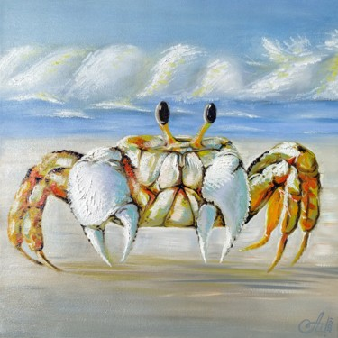 """Painting titled """"Sun crab"""" by Anna Shabalova, Original Art, Oil Mounted on Stretcher frame"""