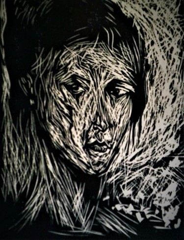 """Painting titled """"STUDY of WOMANs HEAD"""" by Joseph Urie, Original Art, Linocuts"""