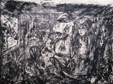 """Painting titled """"THE VISITORS."""" by Joseph Urie, Original Art, Monotype"""