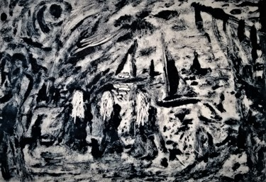 """Painting titled """"3FRENCH NUNS"""" by Joseph Urie, Original Art, Monotype"""