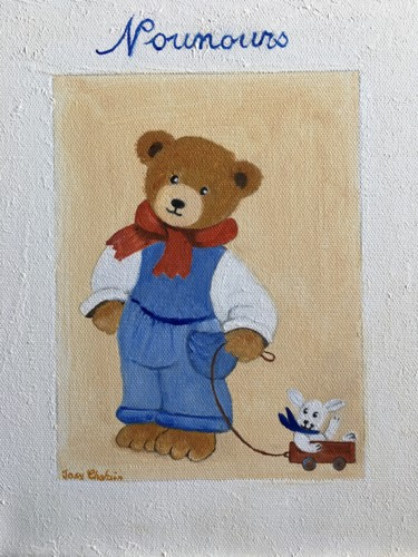 """Painting titled """"Nounours"""" by Josy Chatain, Original Art, Oil"""
