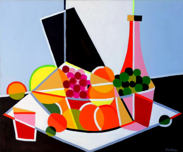 """Painting titled """"Corbeille de fruits…"""" by Jean-Pierre Borderie, Original Art, Acrylic Mounted on Stretcher frame"""