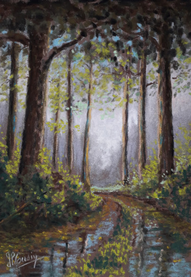Forest Painting, pastel, impressionism, artwork by Jean-Pierre Cousin