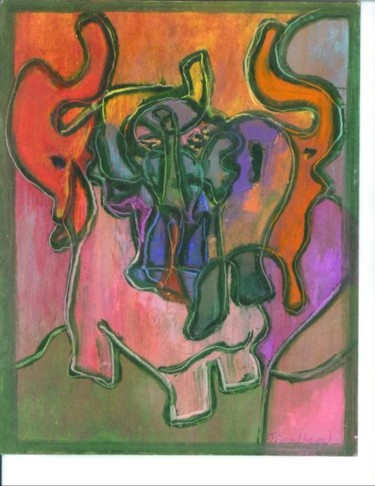 """Painting titled """"Elephant Tribe"""" by Juli Southmayd, Original Art,"""