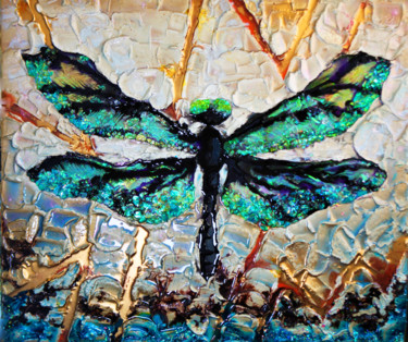 """Painting titled """"Dragonfly. 3D Resin…"""" by Julia Crystal, Original Art, Resin Mounted on Stretcher frame"""