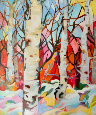 """Painting titled """"Birches.Singing tre…"""" by Julia Hacker, Original Art, Oil Mounted on Stretcher frame"""