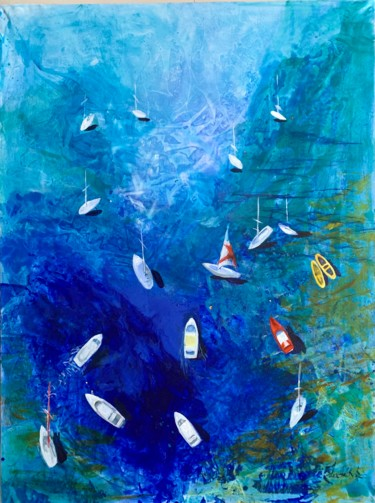 Boat Painting, acrylic, abstract, artwork by Julia Hacker
