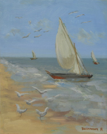 """Painting titled """"Sailboats"""" by Юлия Василевич, Original Art, Oil"""