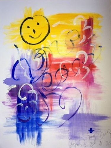 """Painting titled """"""""Love and Peace"""""""" by July Singer, Original Art, Acrylic"""
