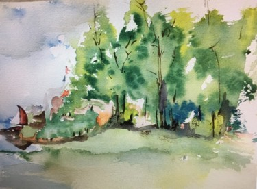 """Painting titled """"New England Shore"""" by June Becker, Original Art, Watercolor"""