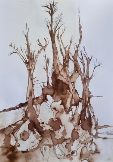 Painting, ink, abstract, artwork by Marie-Anne Lavy