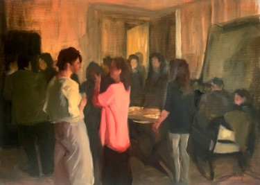 """Painting titled """"Night Talk"""" by Justine Lemaire, Original Art, Oil Mounted on Wood Panel"""
