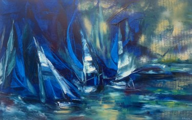 Boat Painting, oil, abstract, artwork by Khrystyna Kozyuk