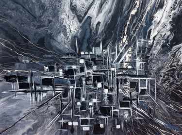 """Painting titled """"Abstract City"""" by Khrystyna Kozyuk, Original Art,"""