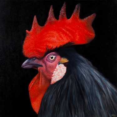 """Painting titled """"Rooster 2"""" by Miku, Original Art, Oil"""