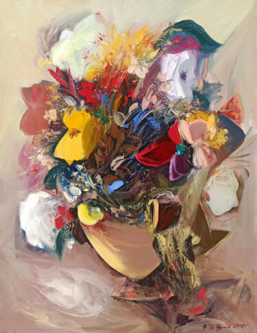 """Painting titled """"Abstract wild flowe…"""" by Kamo Atoyan, Original Art, Oil Mounted on Stretcher frame"""