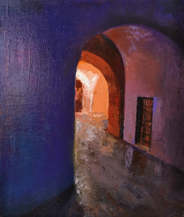 """Painting titled """"Entrance(39x46cm, o…"""" by Kamsar Ohanyan, Original Art, Oil Mounted on Stretcher frame"""
