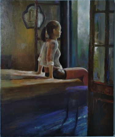 """Painting titled """"Young girl 60x50cm,…"""" by Kamsar Ohanyan, Original Art, Oil Mounted on Stretcher frame"""