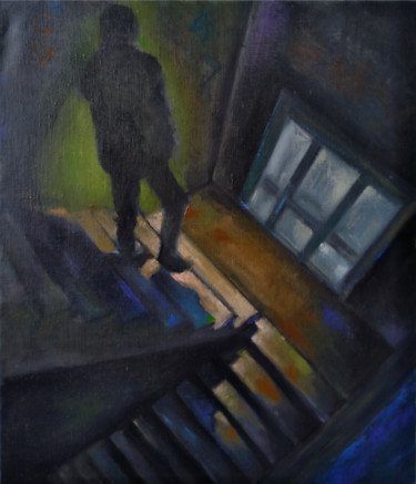 """Painting titled """"Get down (47x56cm,…"""" by Kamsar Ohanyan, Original Art, Oil Mounted on Stretcher frame"""