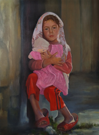 """Painting titled """"Care 57x77cm ,oil/c…"""" by Kamsar Ohanyan, Original Art, Oil Mounted on Stretcher frame"""