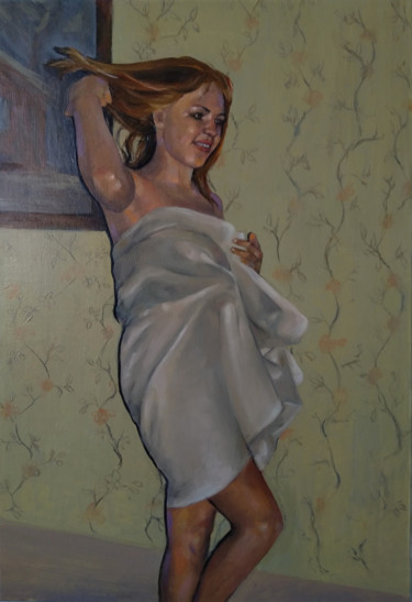 """Painting titled """"Seduction 45x65cm,…"""" by Kamsar Ohanyan, Original Art, Oil Mounted on Stretcher frame"""