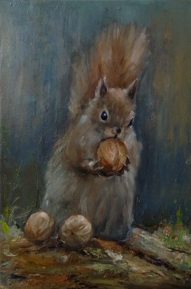 """Painting titled """"Squirrel (28x42cm,…"""" by Kamsar Ohanyan, Original Art, Oil Mounted on Stretcher frame"""