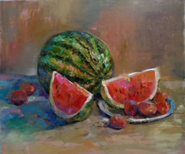 """Painting titled """"Still life-watermel…"""" by Kamsar Ohanyan, Original Art, Oil Mounted on Stretcher frame"""