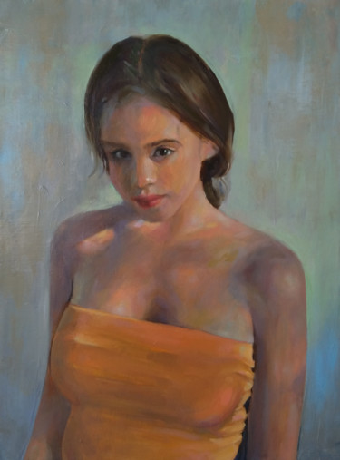 """Painting titled """"Young girl (33x44cm…"""" by Kamsar Ohanyan, Original Art, Oil Mounted on Stretcher frame"""