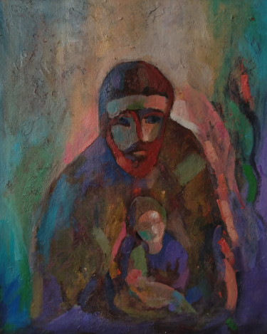 """Painting titled """"Grandson and grandf…"""" by Kamsar Ohanyan, Original Art, Oil Mounted on Stretcher frame"""