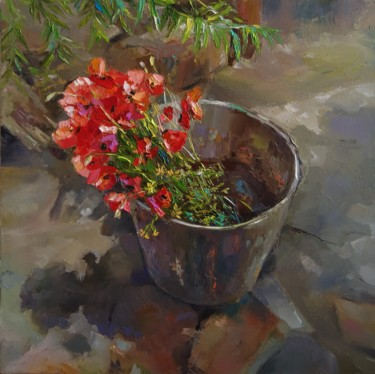 """Painting titled """"Field poppies (40x4…"""" by Kamsar Ohanyan, Original Art, Oil Mounted on Stretcher frame"""