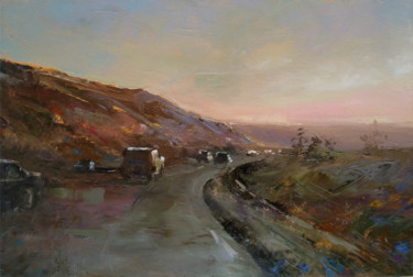 """Painting titled """"Highway (34x50cm, o…"""" by Kamsar Ohanyan, Original Art, Oil Mounted on Stretcher frame"""