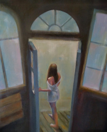 """Painting titled """"At the window (40x5…"""" by Kamsar Ohanyan, Original Art, Oil Mounted on Stretcher frame"""