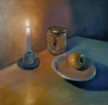 """Painting titled """"Still life-candle a…"""" by Kamsar Ohanyan, Original Art, Oil Mounted on Stretcher frame"""