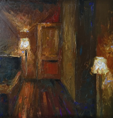 """Painting titled """"Room of lights (25x…"""" by Kamsar Ohanyan, Original Art, Oil Mounted on Stretcher frame"""