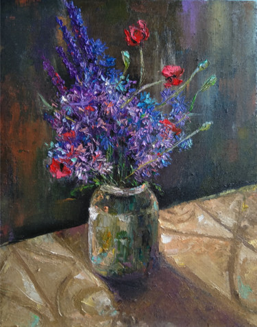 """Painting titled """"Purple flowers (40x…"""" by Kamsar Ohanyan, Original Art, Oil Mounted on Stretcher frame"""