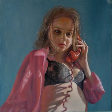 """Painting titled """"Call (52x52cm, oil/…"""" by Kamsar Ohanyan, Original Art, Oil Mounted on Stretcher frame"""