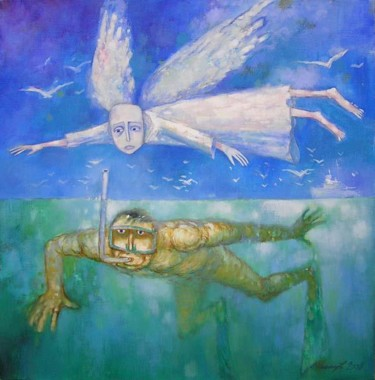 """Painting titled """"angel and diver"""" by Владимир Канищев, Original Art, Oil Mounted on Stretcher frame"""